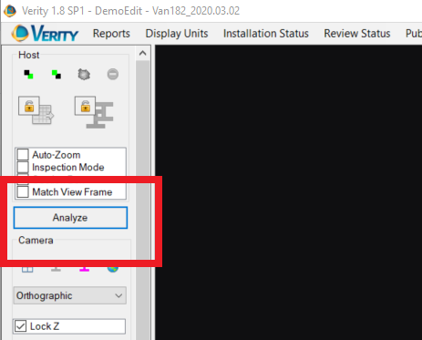 Perform a Verity Analysis - Analyze button