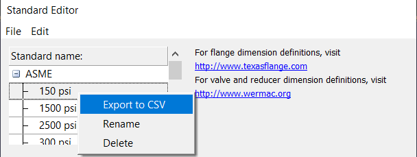 Custom PIpe Standards - Export to CSV
