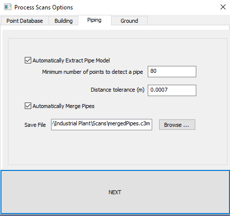 Process Scans Dialog for Piping Automatic pipe extraction