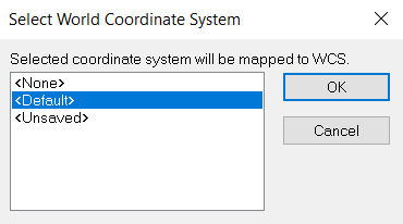 Select World Coordinate System Dialog