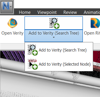 Adding Items to Verity button location in Navisworks.